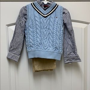 Tommy Hilfiger Sweater Vest & Button up Shirt, 3T